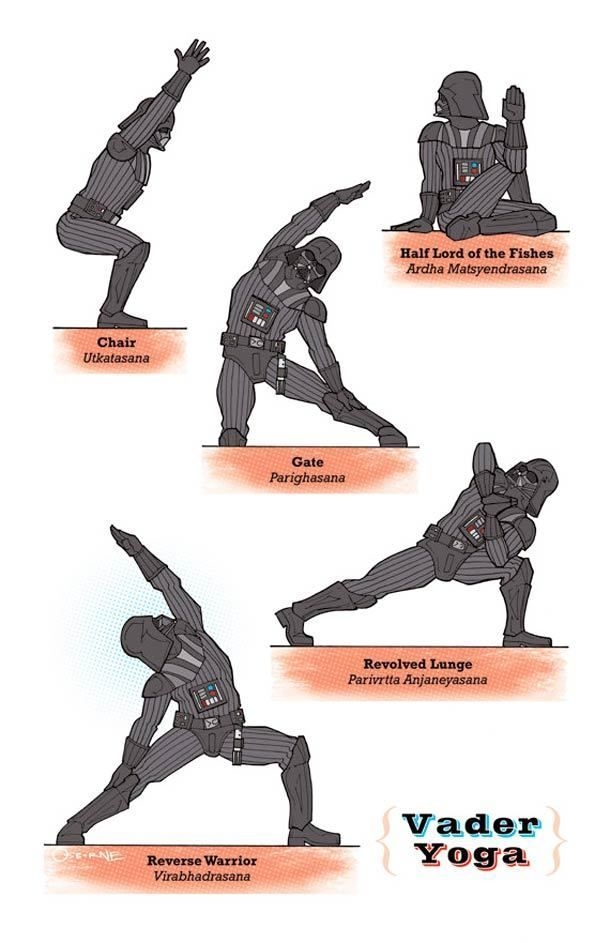 Star Wars Yoga? Yep. It's a thing now. If Star Wars characters did Yoga, here's what it would look like http://bookretreats.com/blog/darth-vader-does-yoga-27-star-wars-yoga-poses/