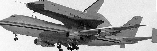 February 18, 1977: First flight of Space Shuttle Enterprise atop a Boeing 747 Shuttle Carrier Aircraft (SCA) to measure structural loads and ground handling and braking characteristics of the mated system.
