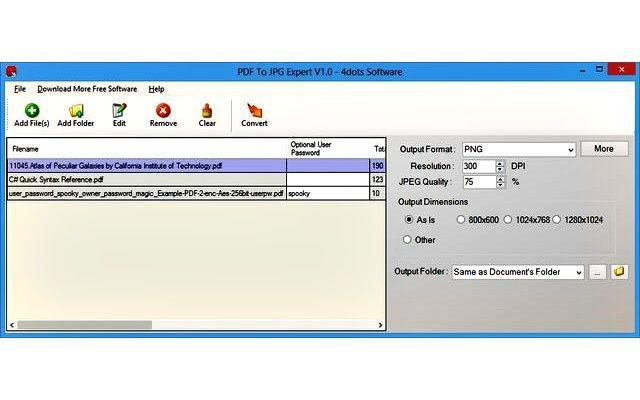 PDF To JPG Expert, software gratis para convertir PDF a imagen