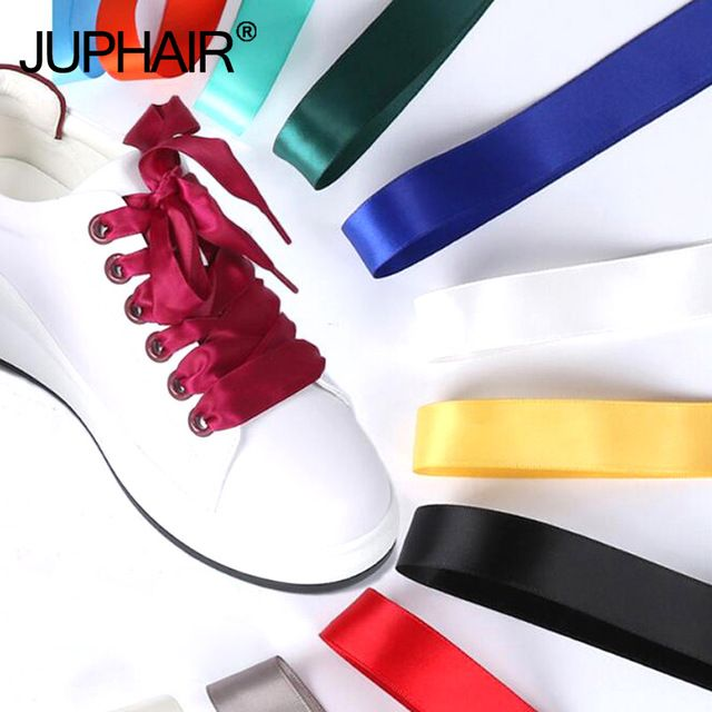 New Flat Wide Shoelaces Flat Silk Satin Ribbon Shoes Laces Sneakers Shoestrings