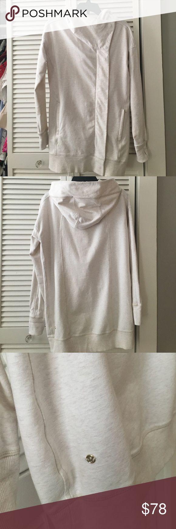 Lululemon hooded tunic jacket Lululemon hooded tunic zip up jacket. Size 6. Heather beige. lululemon athletica Tops Sweatshirts & Hoodies