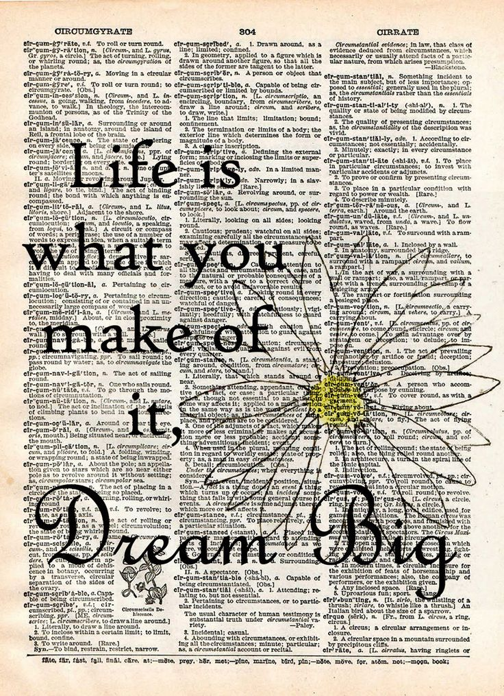 Dream big wall quote, life is what you make of it quote, inspirational dictionary art print, cool quotes