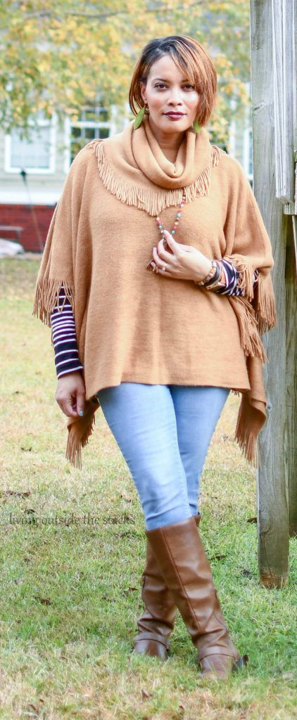 Wear for Play: Poncho, Striped Tee, and Denim Jeggings