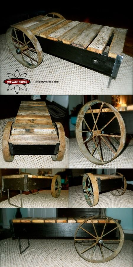 Factory cart inspired coffee table with reclaimed barn board and antique wagon wheels.