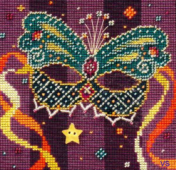 Mill Hill Beads Buttons Cross Stitch Kit  Teal Mask