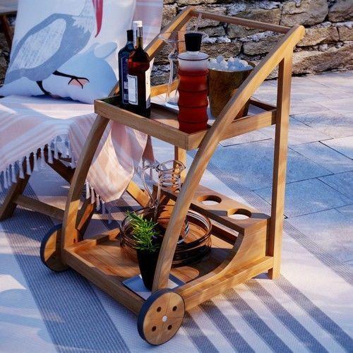 #Patio #Serving Cart #Pool #Wood #Bar #Modern #Outdoor #Brown Tray #Garden Wheels #Table  #sales #usa #summer