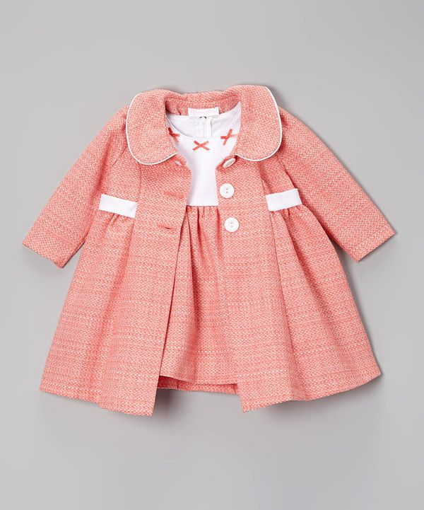 Look what I found on #zulily! Peach & White Bow Bouclé Dress & Swing Coat - Infant & Toddler by Gerson & Gerson #zulilyfinds