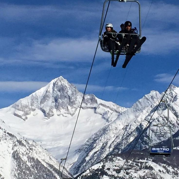Riding the chairlift up to the Brandalp with the Bietschhorn behind