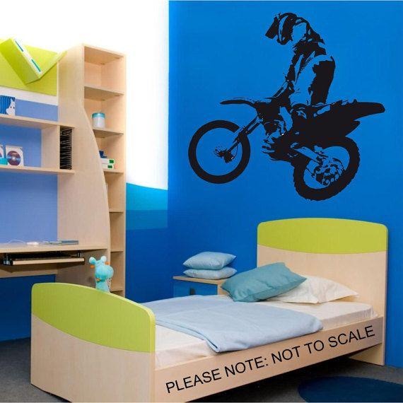 Motocross Bike Jumping Wall Art Sticker by BeInspiredWallArt