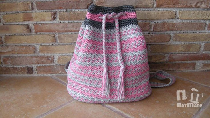 Crochet backpack,crochet rucksack,crochet bag, pink and grey crochet backpack by NatmadeCrafts on Etsy