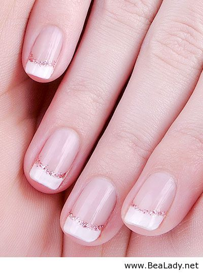 25 trending french manicures ideas on pinterest gel manicure short french manicure enhanced with glitter urmus Choice Image
