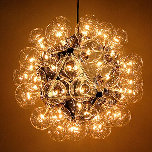 cord pendant lamp 40 heads Dandelion clear Glass ball hanging lamp Bubble DNA Molecules split pendant lighting glass shades