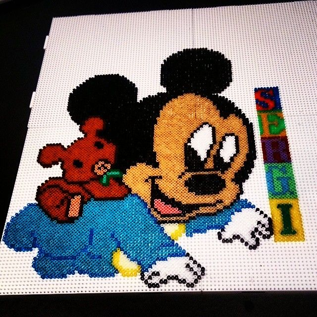 Custom baby Mickey Mouse hama beads by hiena88