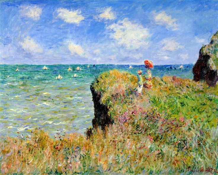 """Clifftop Walk at Pourville"" ・ by Claude Monet ・ Completion Date: 1882 ・ Style: Impressionism ・ Genre: landscape"