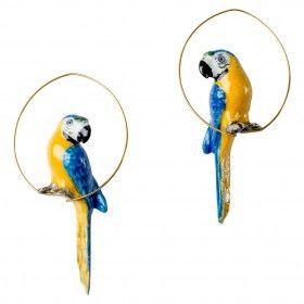 Créoles perroquet bleu en porcelaine