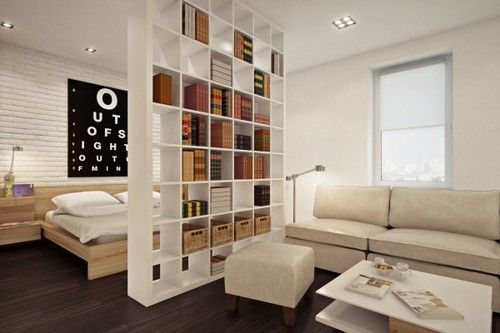 I love this room design. The bookshelf divides bedroom and the living room.
