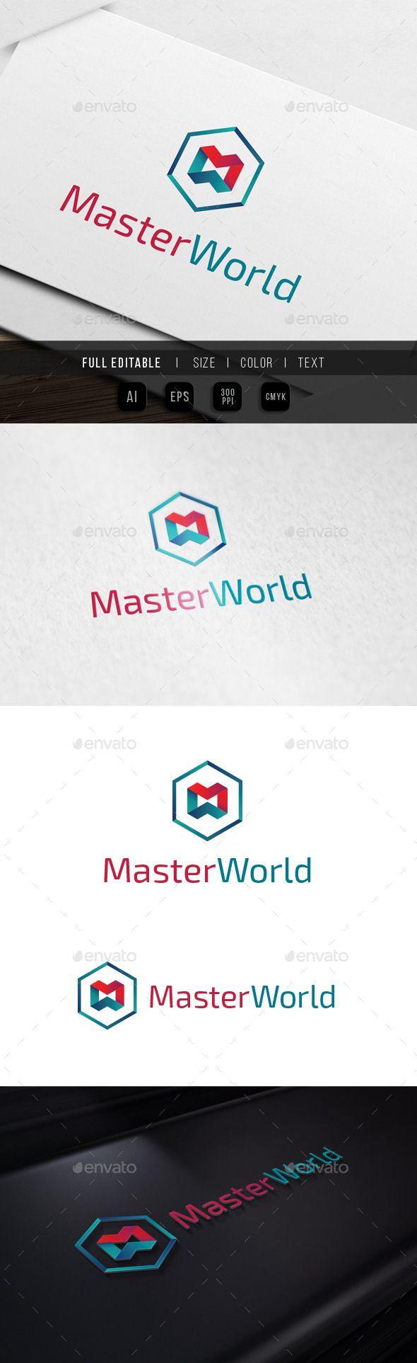 Master World  M W Hexagon — Vector EPS #hexa #web • Available here → https://graphicriver.net/item/master-world-m-w-hexagon/10023219?ref=pxcr