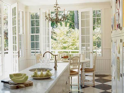 French doors, white kitchen...for the breakfast area