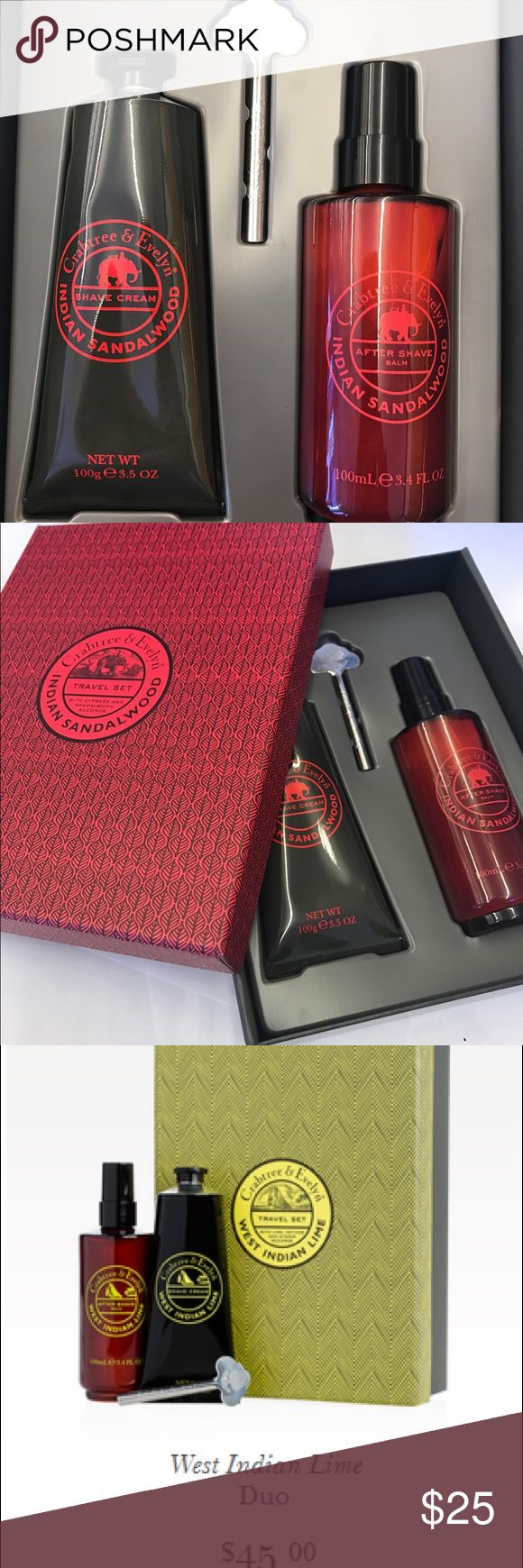 Crabtree & Evelyn Men's Shaving Set Crabtree & Evelyn Men's Shaving Set.  Shave cream, aftershave balm and tube key.  Beautiful Indian Sandalwood fragrance.  New. Great gift. Crabtree & Evelyn Other