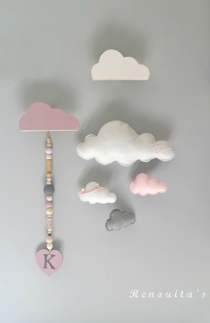 cloud mobile, baby nursery, cloud nursery decor, wood garland