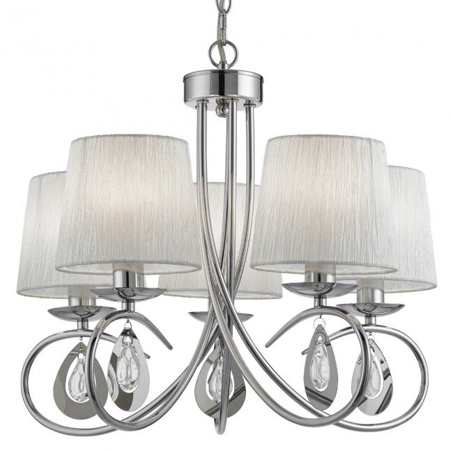 Angelique Chrome 5 Light Ceiling Fitting With Ruffled Shades
