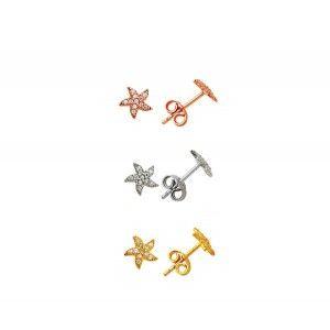 Küçük deniz yıldız motifli,924 ayar  gümüş bayan küpe