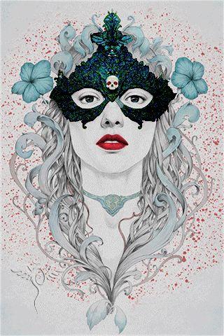 Animazione Ragazza in maschera con un teschio su sfondo di fiori, SIFCO ragazza in una maschera con un teschio su sfondo di fiori