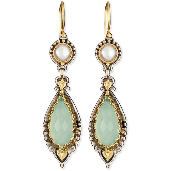 Konstantino.  Sea Blue Agate & Pearl Drop Earrings.  Drop earrings by Konstantino.  Sterling silver and 18-karat gold.  Faceted sea blue agate.  Naturally whit…