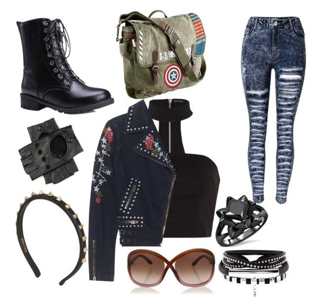"""""""I'm so bored"""" by aimeelynch24 ❤ liked on Polyvore featuring Marvel, True Religion, Black, Valentino and Tom Ford"""