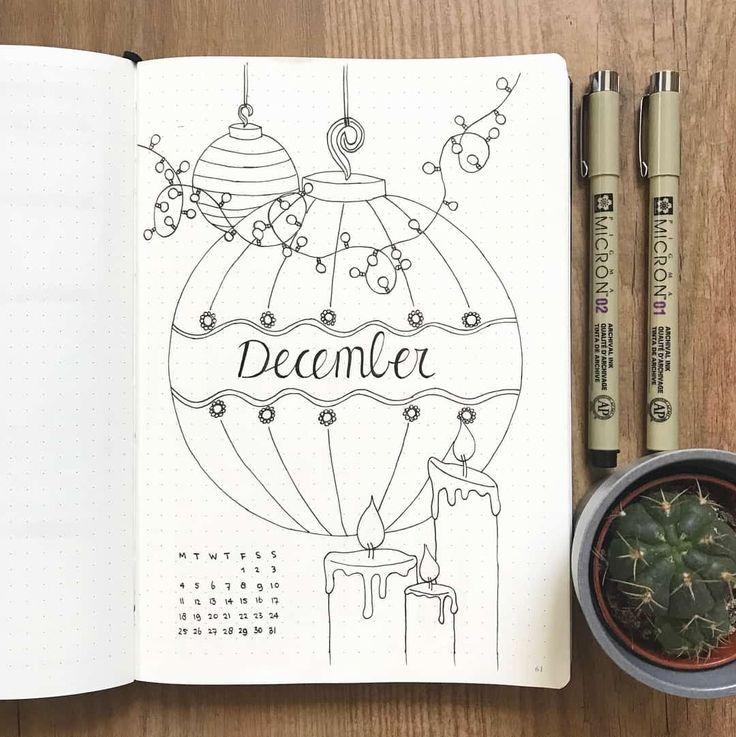 16 Atemberaubende, von Dezember inspirierte Aufzählungszeichen-Spreads + Dezember Planen Sie mit mir Video! – #Bullet #Weihnachten #Dezember #inspiriert #Journal