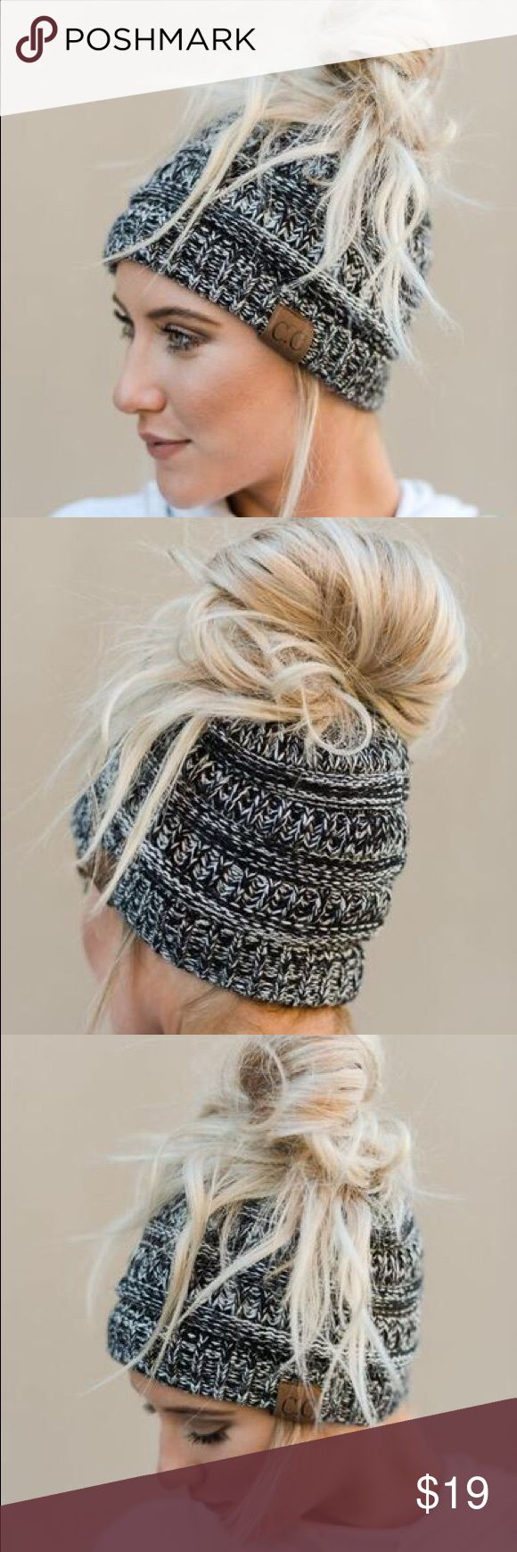 NWT CC C.C. Marled Messy Bun Ponytail Beanie Black Messy bun/ponytail lovers and beanie wearers UNITE. You can now wear a messy bun or ponytail and a beanie all at the same time with our amazing Messy Bun Knitted Beanie Hat. Super cute and perfectly cozy this marled knitted acrylic yarn beanie with an elastic opening to pull your messy bun or ponytail through is a cold weather staple and answer to bad hair days. Content:  50% Cotton, 50% Acrylic Made in China Accessories Hats