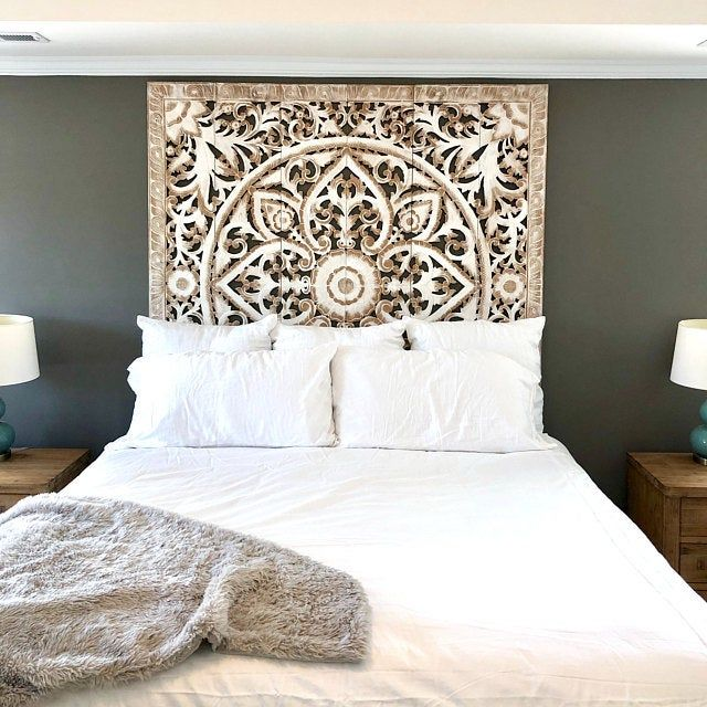 Rare Queen Bed Headboard 5ft 60 Sculpture Lotus Flower Wooden Hand Craved Carving Teak Wood Art Panel Panels Wash Wall Home Decor Thai Headboards For Beds White Paneling King Size Bed