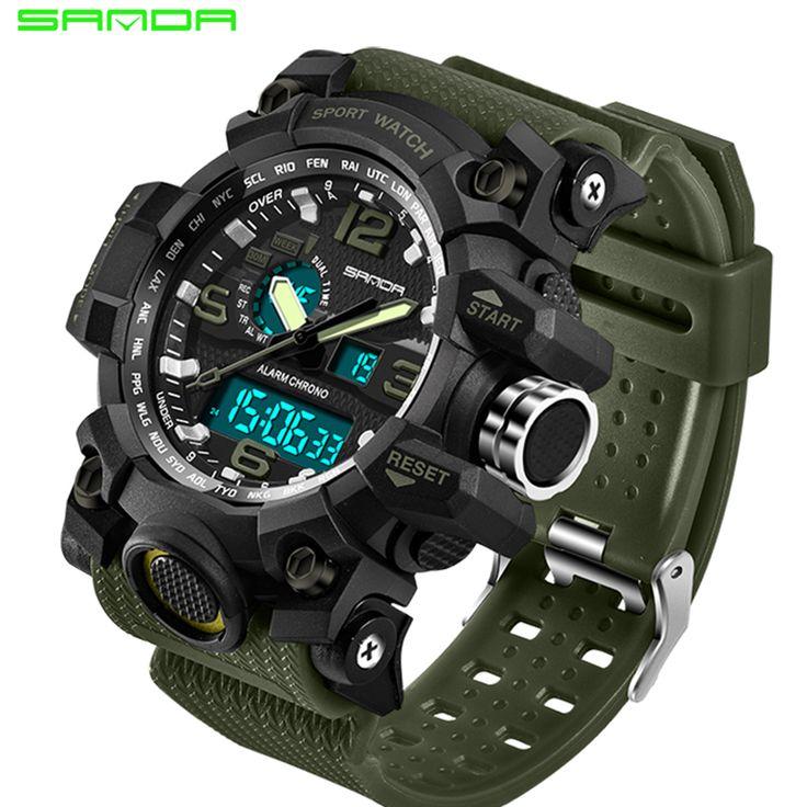 2017 SANDA Men's Military Sport Watch Men Top Brand Luxury Famous Electronic LED Digital Wrist Watch Male Relogio Masculino 742