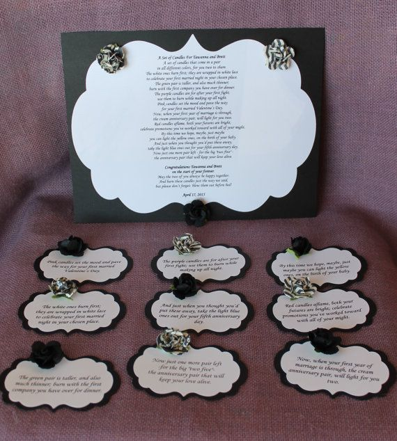 Wedding Shower Candle Poem black and whiteTag Set.  Bridal candle basket Poem and Tags.Sentimental wedding gift. Shower Present. Bride Gift.