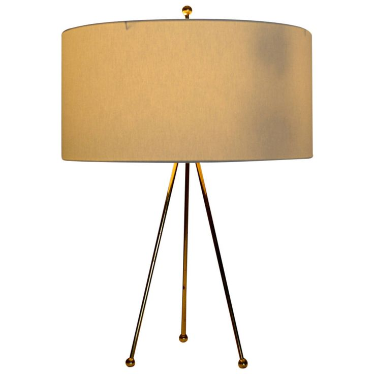 Brass Tripod Table Lamp | From a unique collection of antique and modern table lamps at https://www.1stdibs.com/furniture/lighting/table-lamps/