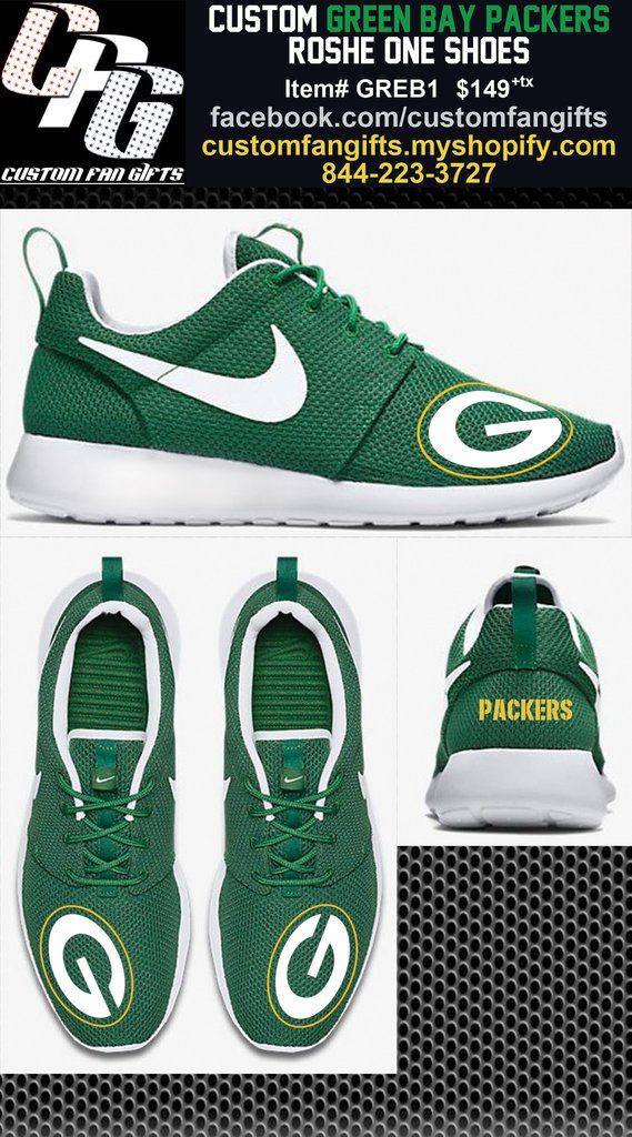 Custom GREEN BAY PACKERS Nike Roshe One Shoes
