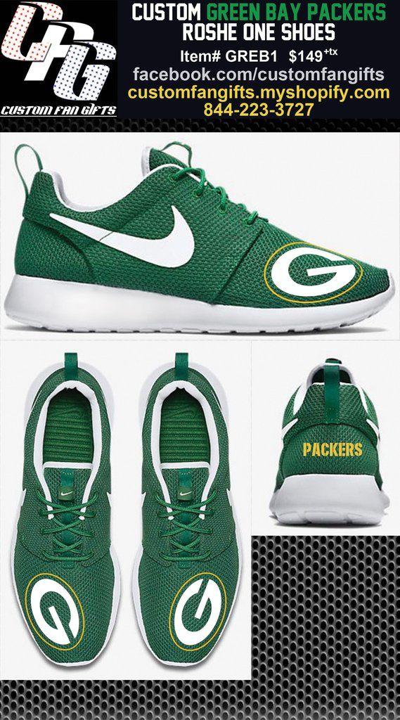 Custom GREEN BAY PACKERS Nike Roshe One Shoes