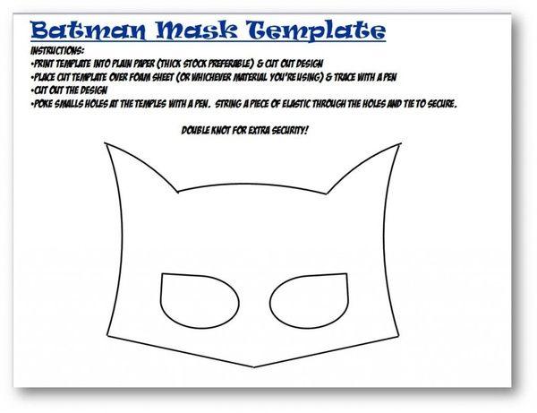 Batman mask template batman