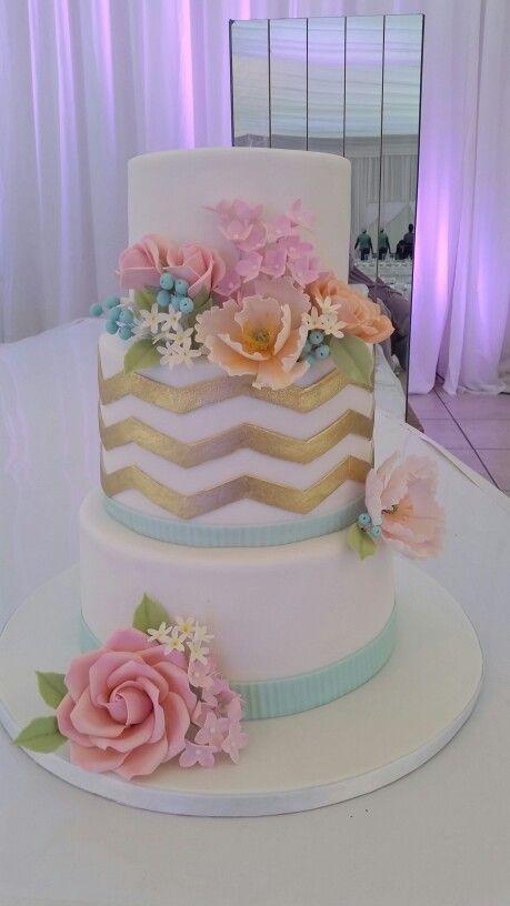 Chevron Pastel Wedding Cake