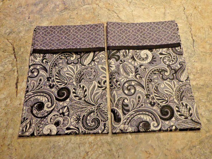 2 New Black Gray White Handmade Pillowcases standard/queen *FREE SHIP* #Handmade