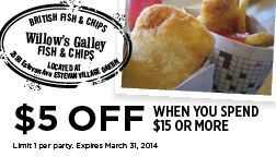 Willow's Gallery Fish & Chips in Estevan Village Victoria BC - Coupon for $5 OFF when you spend $15 or more!