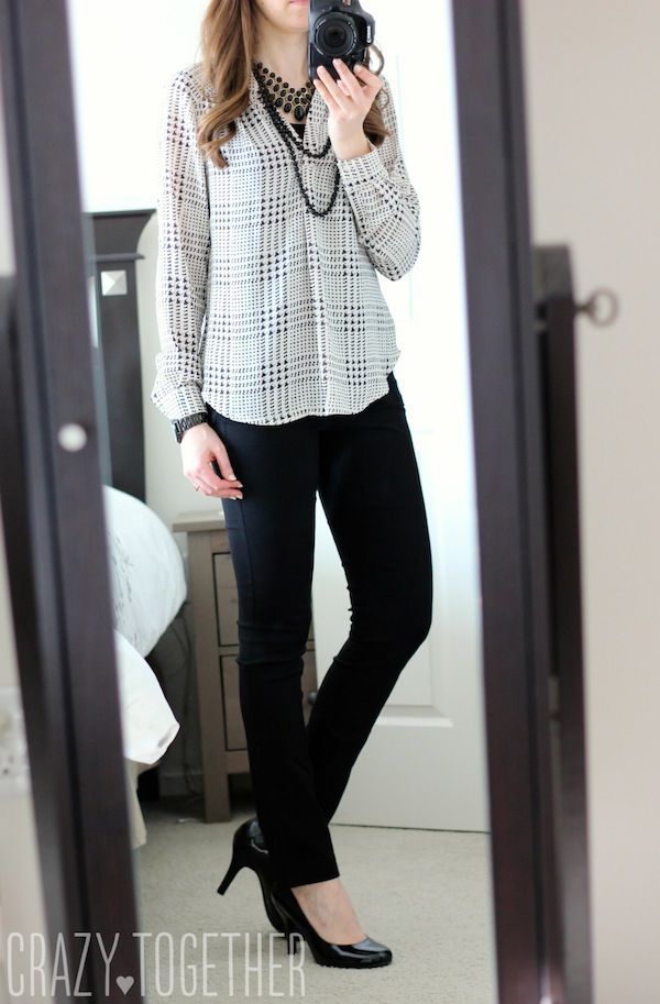 Ackley Houndstooth Print Blouse from 41Hawthorn with  Emer High Waisted Tall Trouser pants from Margaret M - January 2015 Stitch Fix review #stitchfix