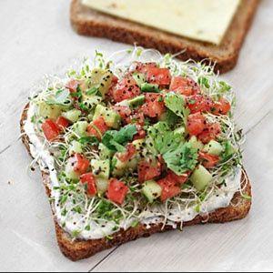 California Sandwich- tomato, avocado, cucumber, sprouts chive spread.
