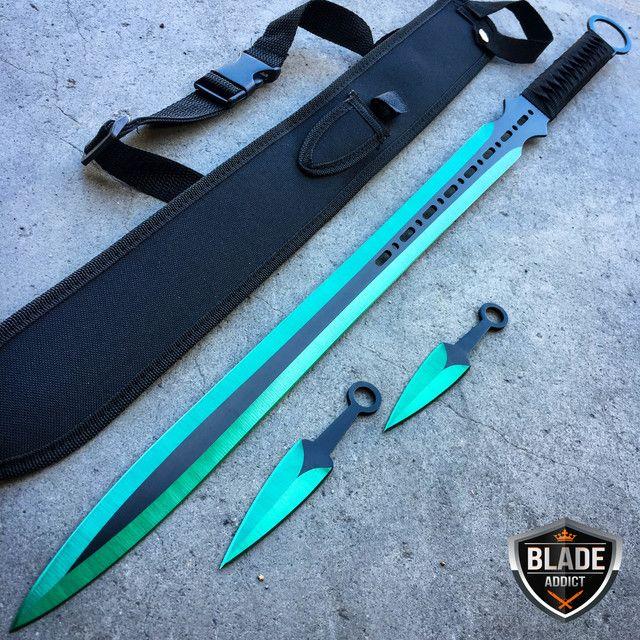28 Green Ninja Sword Full Tang Machete Tactical Blade Katana
