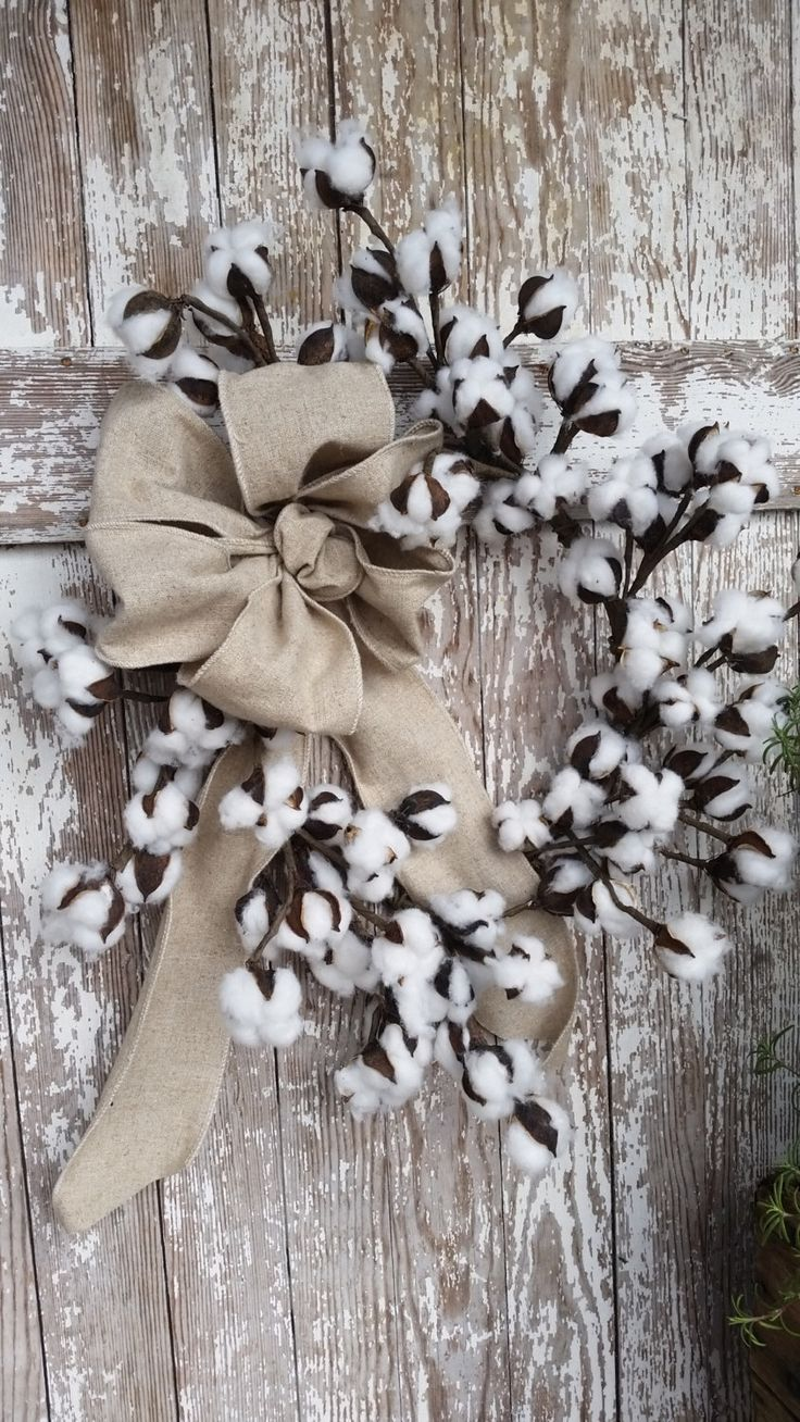 24 Inch Cotton Wreath by oldetymemarketplace on Etsy https://www.etsy.com/listing/274542010/24-inch-cotton-wreath