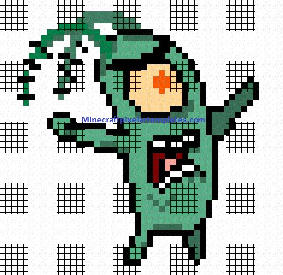 Plankton perler pattern - Minecraft Pixel Art Templates... Could be used for Rainbow Loom