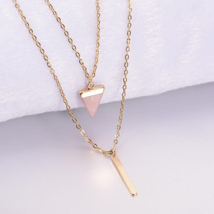 2,14€ - Women Jewelry Multi Layer Bar Faux Stone Pendant Necklaces Triangle Black Pink Stone Necklace - Miss Fashion Co.,Ltd