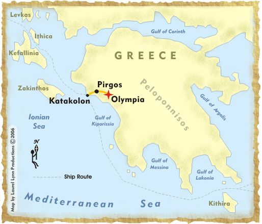 ... Peninsula showing the location of Katakolon, Pirgos and Olympia