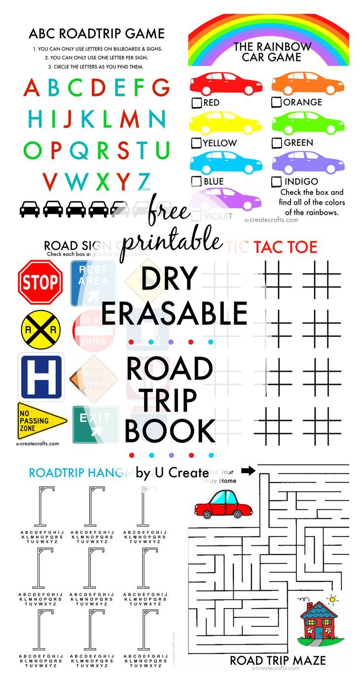 Free Printable Dry ERASABLE Road Trip Book for Kids - by U Create