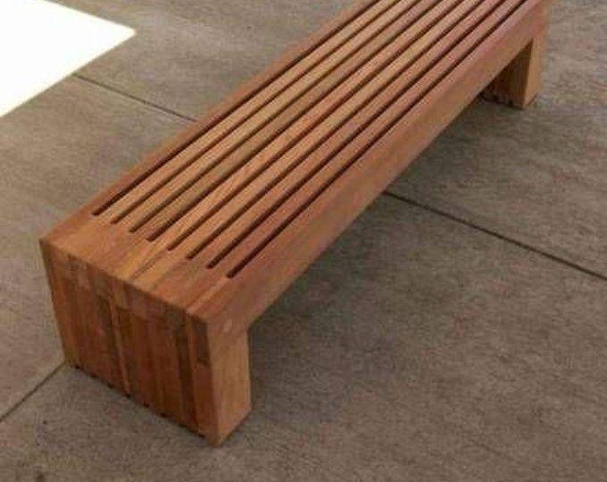 wood bench outdoor modern rustic garden